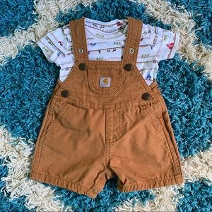3 mo Carhartt canvas overalls with onesie